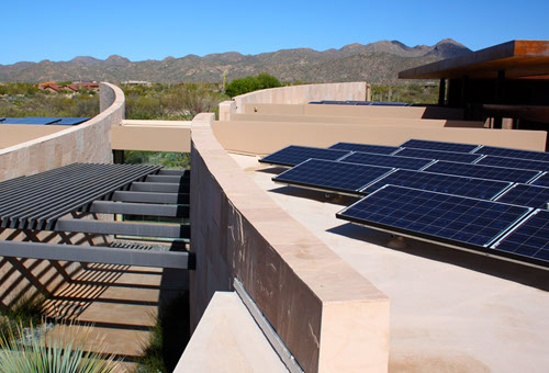 Custom home with solar panel system in Oro Valley, AZ