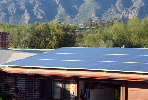 Solar photovoltaic on a pitched roof home