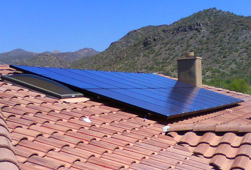 Solar panels on a tile roof in Oro Valley